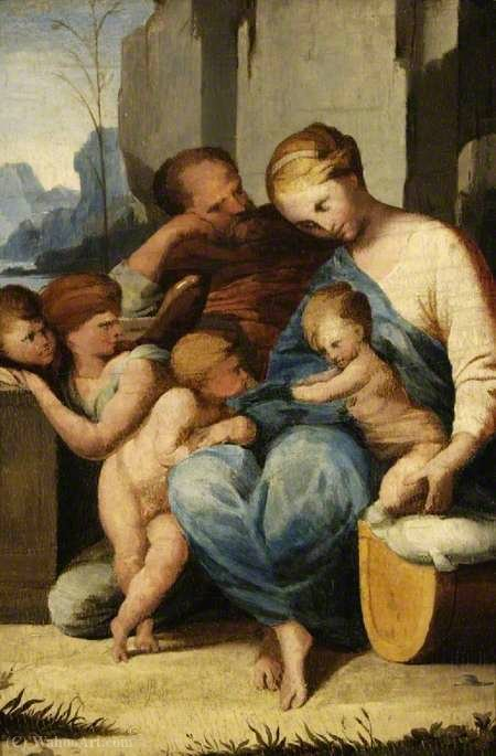 The Holy Family with the Infant Saint John the Baptist and Angels by Lubin Baugin (1612-1663, France)
