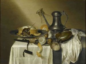 Maerten Boelema De Stomme - Still Life with meat pie