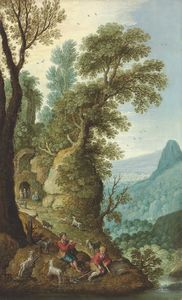 Maerten Ryckaert - A mountainous landscape with goatherds in the foreground, and a grotto beyond