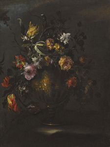 Margherita Caffi - A still life of roses, tulips and other flowers in a bronze vase on a stone ledge