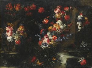Margherita Caffi - An ornate still life with flowers in vases on a stone ledge