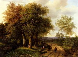 Marianus Adrianus Koekkoek - Travellers resting on a wooded path