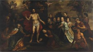 Marten Pepijn - The Apparition of Christ with Saint Peter, James, John, Mary Magdalene, Johanna and Zacheus, with a family portrait