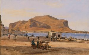 Martinus Christian Wesseltoft Rørbye - Palermo Harbor with a View of Monte Pellegrino