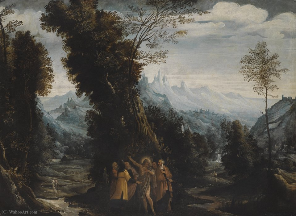 Landscape with John the Baptist Preaching in the Wilderness by Mastelletta (1575-1655, Italy) | Oil Painting | WahooArt.com