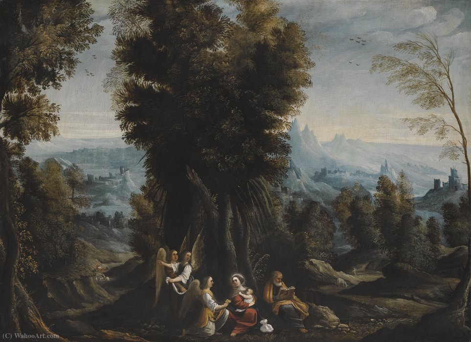 Order Famous Paintings Reproductions : Landscape with the Rest on the Flight into Egypt by Mastelletta (1575-1655, Italy) | WahooArt.com