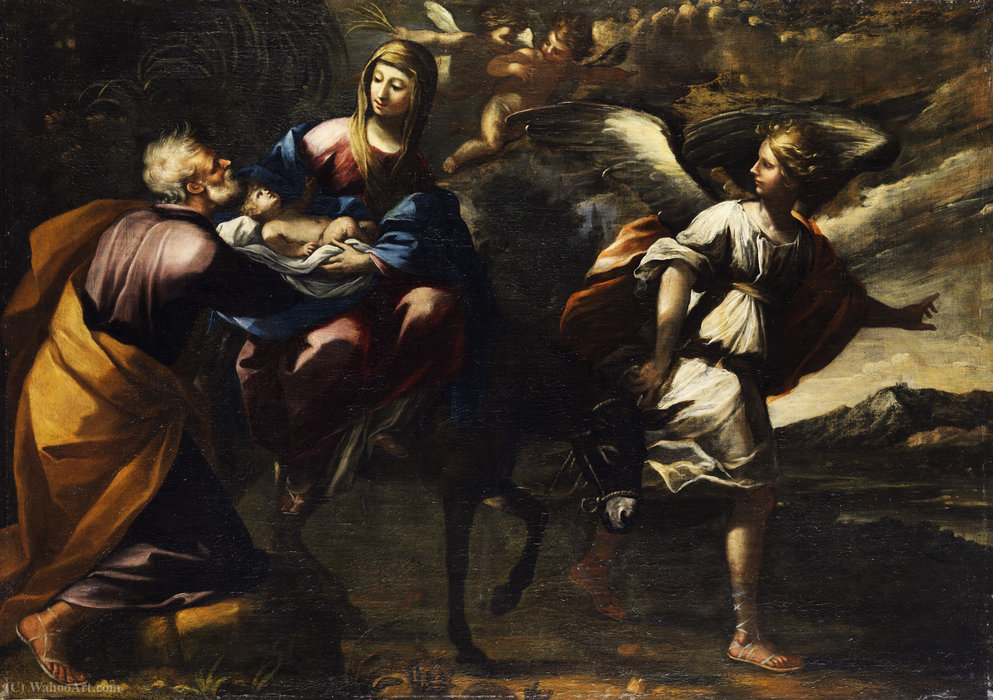 The Flight into Egypt by Mastelletta (1575-1655, Italy)