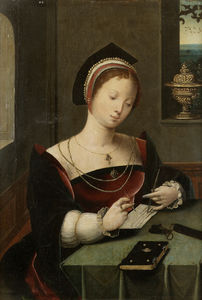 Master Of Female Half Lengths - A woman as the Magdalen writing at a table in an interior.