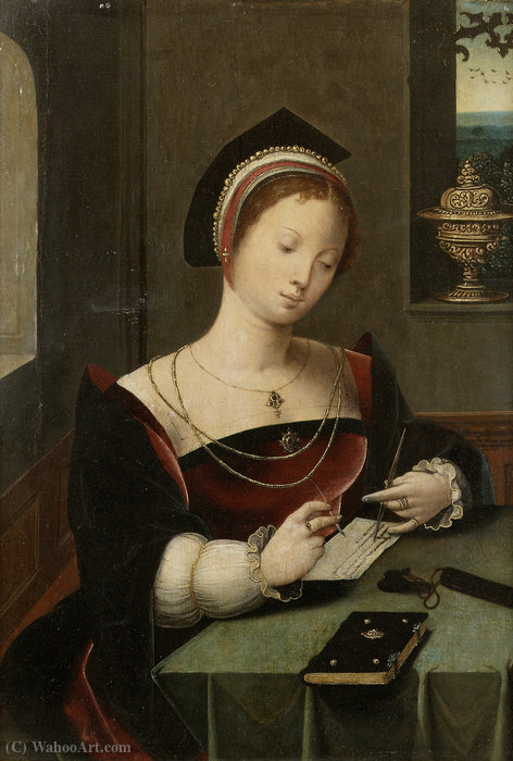 A woman as the Magdalen writing at a table in an interior. by Master Of Female Half Lengths