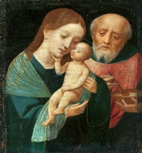 Master Of Female Half Lengths - Holy Family with St. Joseph holding a bowl.