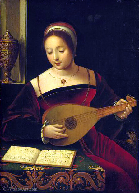 La luthiste` by Master Of Female Half Lengths | Museum Art Reproductions Master Of Female Half Lengths | WahooArt.com