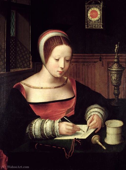 Mary Magdalene writing. by Master Of Female Half Lengths | Famous Paintings Reproductions | WahooArt.com