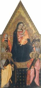 Master Of San Lucchese - Madonna and Child Enthroned with Saints