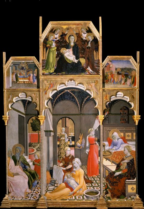 Birth of the Virgin with other Scenes from her Life by Master Of The Osservanza | Museum Quality Reproductions | WahooArt.com