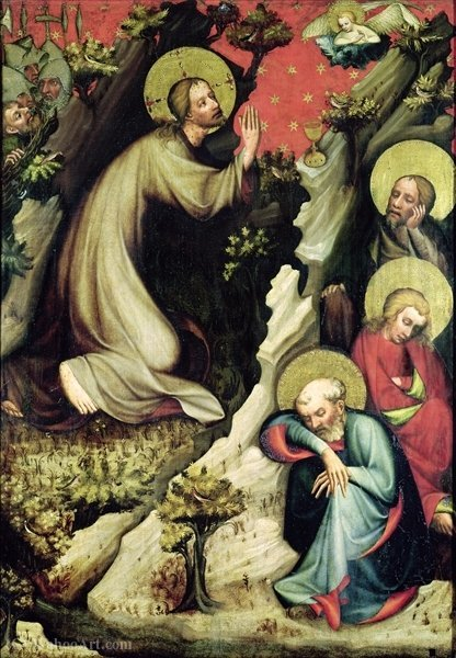 Buy Museum Art Reproductions | Agony in the Garden by Master Of The Trebon Altarpiece | WahooArt.com