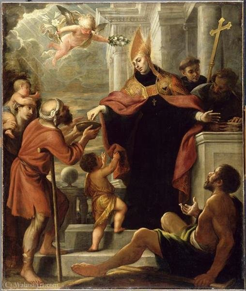 Santo Tomas de Villanueva distributing alms by Mateo The Younger Cerezo (1637-1666, Spain) | Oil Painting | WahooArt.com