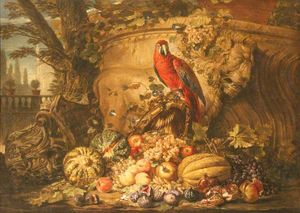 Michele Pace Del Campidoglio - Still Life of Fruit with a Parrot in a Garden