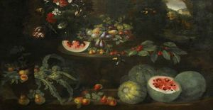 Michele Pace Del Campidoglio - Still Life with Fruit and Flowers in a Landscape around a Sculptured Stone Table