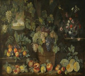 Michele Pace Del Campidoglio - Still Life with Fruit and Flowers in a Landscape, in the Centre, a Tub Filled with Grapes
