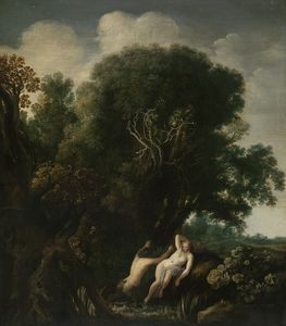 Order Paintings Reproductions | A nymph surprised by a satyr while bathing by Moyses Matheusz Van Uyttenbroeck (1595-1647, Netherlands) | WahooArt.com
