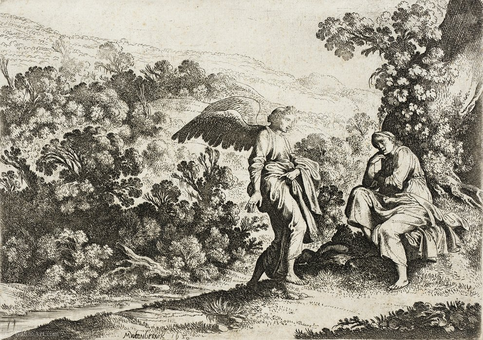 Order Reproductions | Angel and Seated Figure in a Landscape by Moyses Matheusz Van Uyttenbroeck (1595-1647, Netherlands) | WahooArt.com