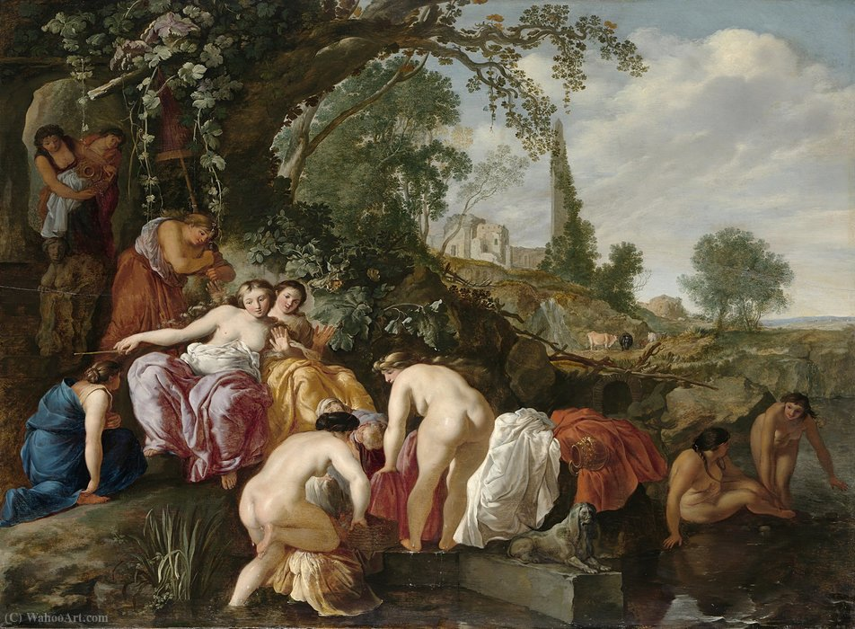 Moses finds Pharaoh`s daughter in the rush basket by Moyses Matheusz Van Uyttenbroeck (1595-1647, Netherlands) | Museum Art Reproductions Moyses Matheusz Van Uyttenbroeck | WahooArt.com