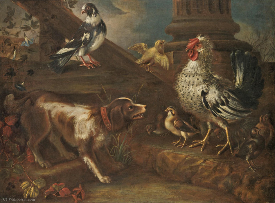 A farmyard still life with a spaniel, a cockerel, chicks, and a pigeon by Niccolò Cassana (1659-1713, Italy) | Oil Painting | WahooArt.com