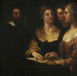 Niccolò Dell- Abbate - A Concert Three Ladies Singing, a Gentleman on the Left
