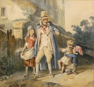 Nicolas Toussaint Charlet - A walk in the old man with three children