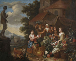 Norbert Van Bloemen - Selling vegetables and flowers on an Italian market stall.