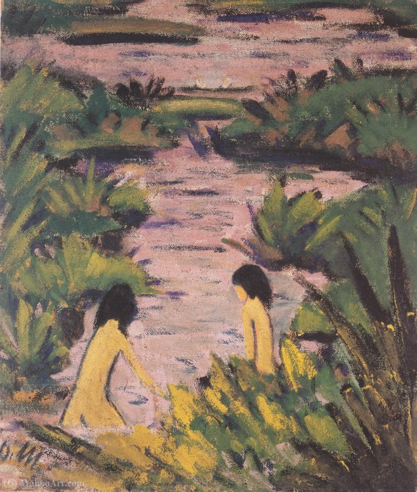 Buy Museum Art Reproductions | Bathers im Schilfgraben by Otto Mueller (1874-1930, Poland) | WahooArt.com