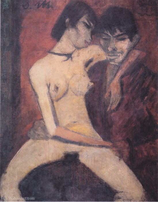 Lovers by Otto Mueller (1874-1930, Poland) | Paintings Reproductions Otto Mueller | WahooArt.com
