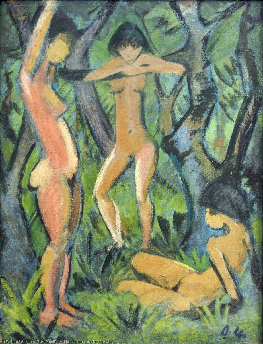 Three Nudes in the Forest by Otto Mueller (1874-1930, Poland) | Reproductions Otto Mueller | WahooArt.com