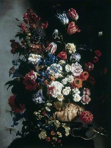 Paolo Porpora - Still Life of Flowers in an Urn, Butterflies and a Snake