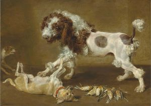 Paul De Vos - Three dogs playing, with songbirds on the floor