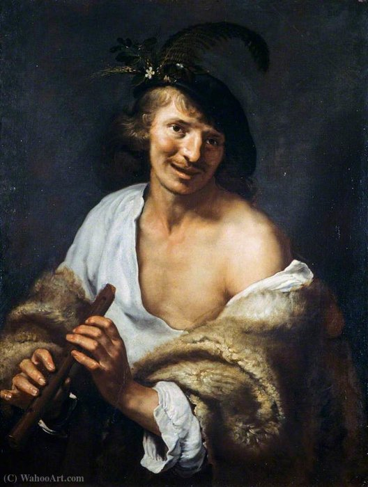 A Shepherd with a Pipe by Paulus Moreelse (1571-1638, Netherlands) | Art Reproduction | WahooArt.com