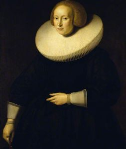 Paulus Moreelse - Portrait of an Unknown Lady in Black, with a Broad Cartwheel Ruff