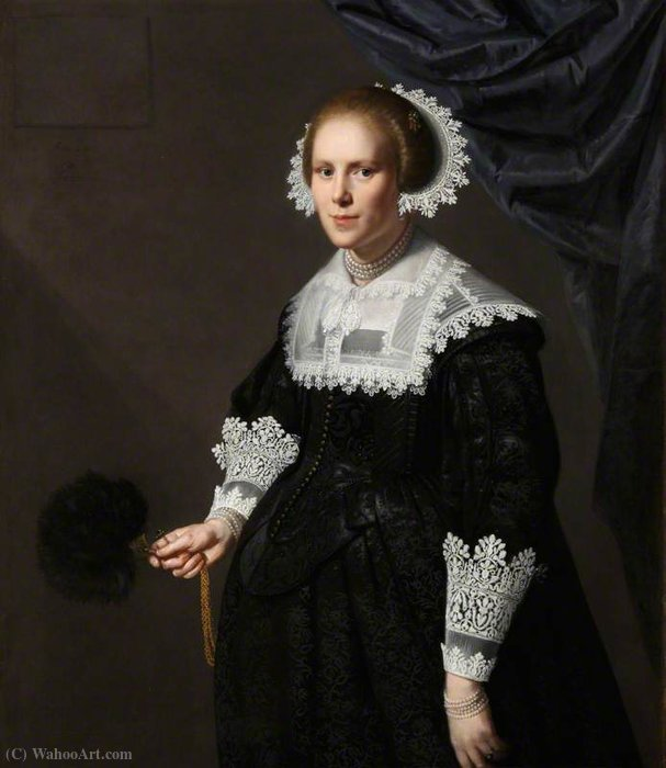 Portrait of an Unknown Lady by Paulus Moreelse (1571-1638, Netherlands)