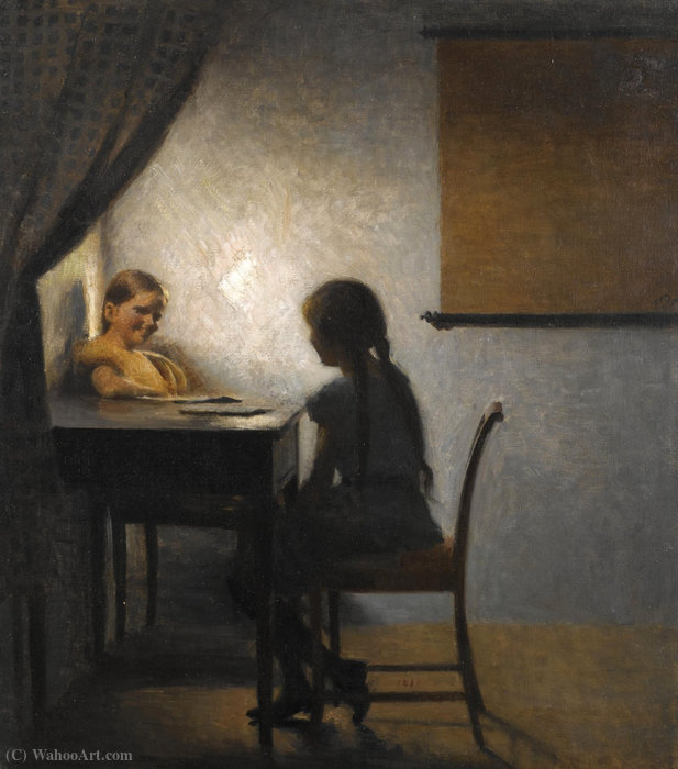 After school by Peder Vilhelm Ilsted (1861-1933, Denmark) | Famous Paintings Reproductions | WahooArt.com
