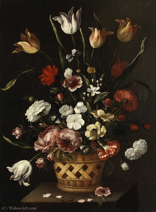 Spring flowers by Pedro De Camprobín (1605-1674, Spain)