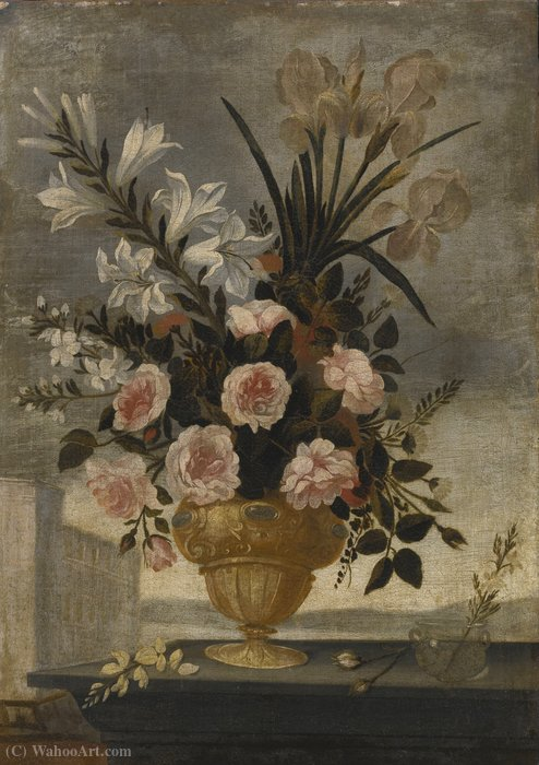 Still Life of Iris, Lilies, Roses and Carnations In Elaborate Urn by Pedro De Camprobín (1605-1674, Spain) | WahooArt.com