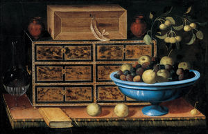 Pedro De Camprobín - Writing Desk with a small Chest and a Fruit Bowl