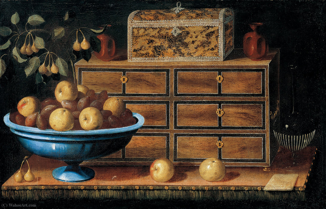 Writing Desk with a small Chest and a Fruit Bowl by Pedro De Camprobín (1605-1674, Spain) | Oil Painting | WahooArt.com