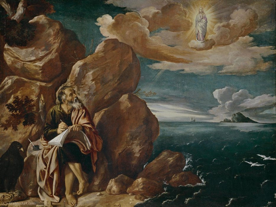 St. John the Evangelist on Patmos by Pedro Orrente (1580-1645, Spain) | Museum Quality Reproductions | WahooArt.com