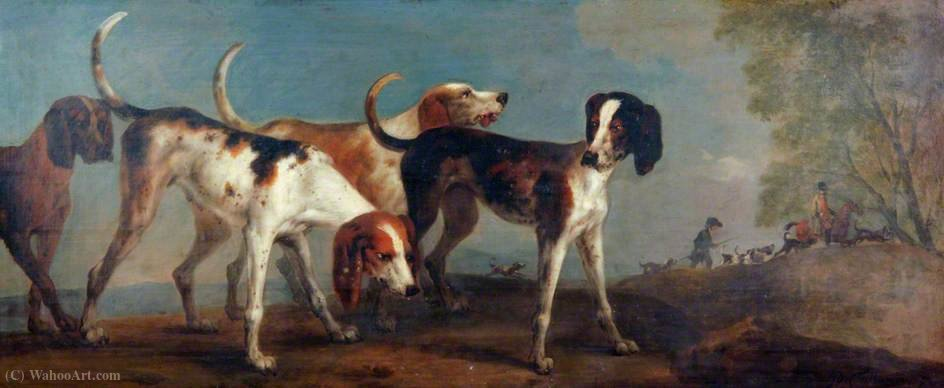 Four Hounds with Huntsmen to the Right by Peter Tillemans (1684-1734, Belgium)