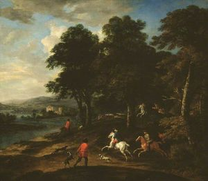 Order Museum Quality Copies | Foxhunting in Wooded Country by Peter Tillemans (1684-1734, Belgium) | WahooArt.com