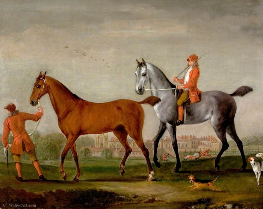 Buy Museum Art Reproductions | Two Racehorses with Grooms and Hounds in the Park at Newstead Abbey, Nottinghamshire by Peter Tillemans (1684-1734, Belgium) | WahooArt.com