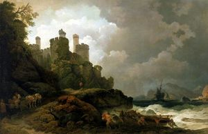 Philip Jacques De Loutherbourg - A Fishing Boat Brought Ashore near Conway Castle