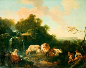 Philip Jacques De Loutherbourg - Landscape with Figures and Cattle