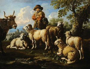 Philipp Peter Roos - Herdsman with Sheep and Goats